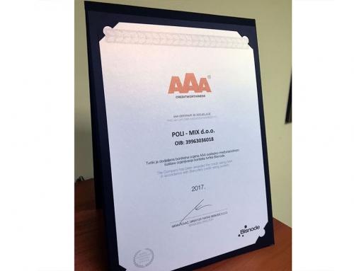 """I ove godini nagrađeni smo certifikatom agencije """"Bisnode"""" sa """"AAA"""""""