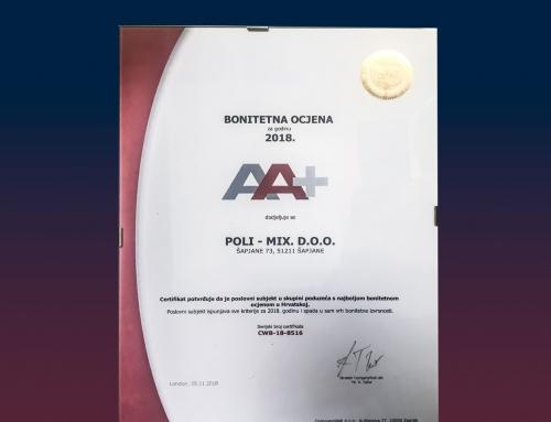 Poli-mix u 2018. godini ostvario AA+ poslovni bonitet
